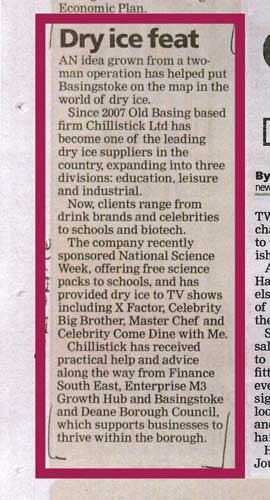 Basingstoke Gazette Article On Chillistick